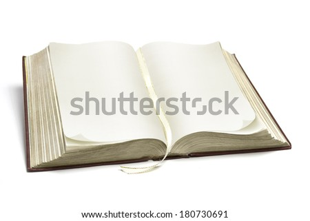 ancient opened book isolated on white - stock photo