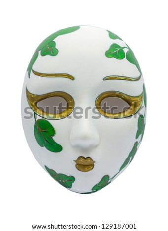 Ancient Opera Mask on white Background - stock photo