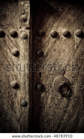 ancient oriental doors - stock photo