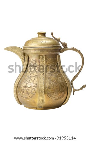 Ancient ornamental teapot, jug on white background - stock photo