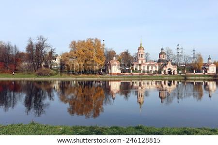 Ancient Orthodox Church in the Park Vozdvizhenskaya Altufievo - stock photo
