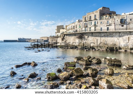 Ancient Ortigia island on the Mediterranean coast, Syracuse, Sicily. Italy.  - stock photo