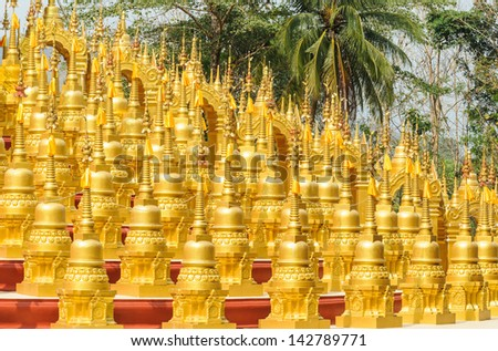 Ancient pagoda architecture  in thailand - stock photo