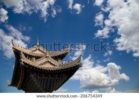 Ancient Pagoda-- Buddhist pagoda located in southern Xian (Sian, Xi'an), Shaanxi province, China - stock photo