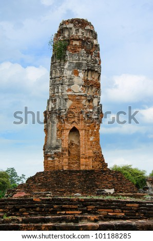 Ancient Pagoda in Ayutthaya Temple,Thailand