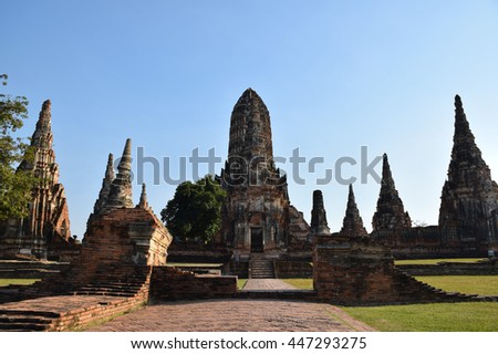 ancient pagoda in temple, Ayutthaya, central of Thailand, World Heritage, blue sky    - stock photo