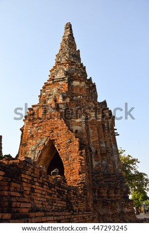ancient pagoda in temple, Ayutthaya, central of Thailand, World Heritage, blue sky, blue    - stock photo