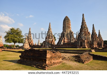 ancient pagoda in temple, Ayutthaya, central of Thailand, World Heritage, blue sky, blue sky cloud,   - stock photo