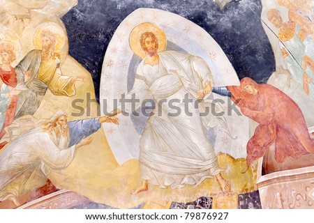 Ancient Painting Anastasis (Resurrection). Jesus raising Adam and Eve by their hands. Chora Church, Istanbul - stock photo