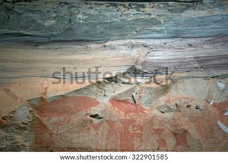 ancient painting,Phatam National Park, Ubonrachathani, Thailand - stock photo