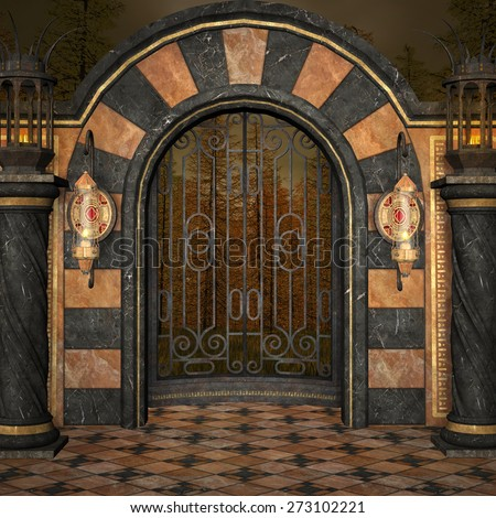 Ancient palace gate - stock photo