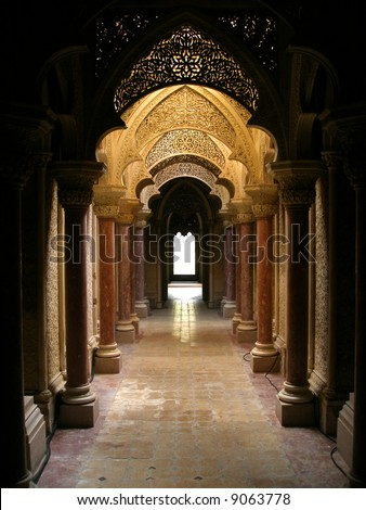 Ancient palace interior - stock photo