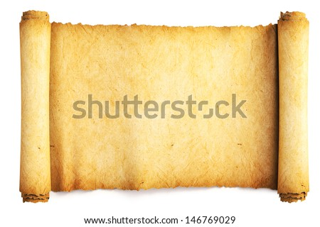 Ancient paper scroll. Isolated on white. - stock photo