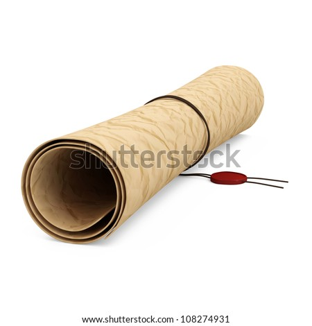 Ancient Paper Scroll with Wax on white background - stock photo