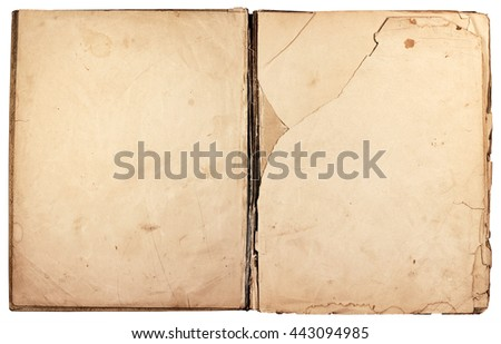 Ancient paper texture background. Old opened book cover  - stock photo