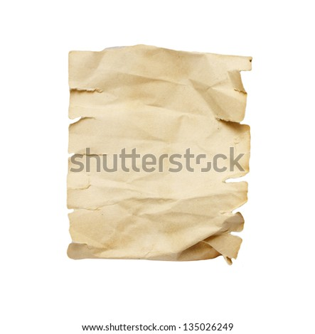 Ancient paper with shabby edges isolated - stock photo