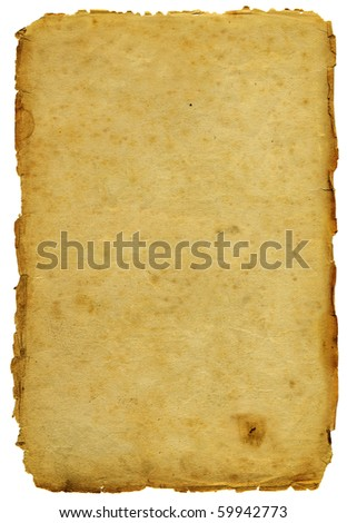 Ancient paper with shabby edges isolated