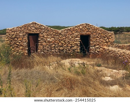 Ancient peasant houses made of stone in Sicily Italy - stock photo
