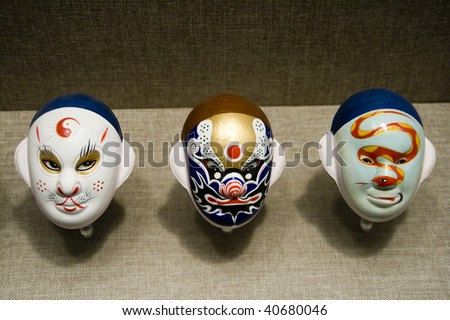 Ancient Peking Opera Mask in the museum
