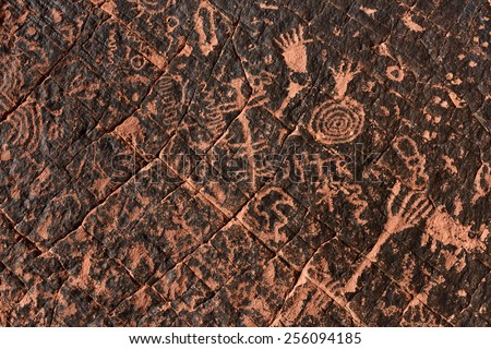 Ancient petroglyph, Valley of Fire State Park, Nevada. - stock photo