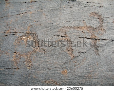 Ancient petroglyphic image of  archars. Area Tamgaly. - stock photo