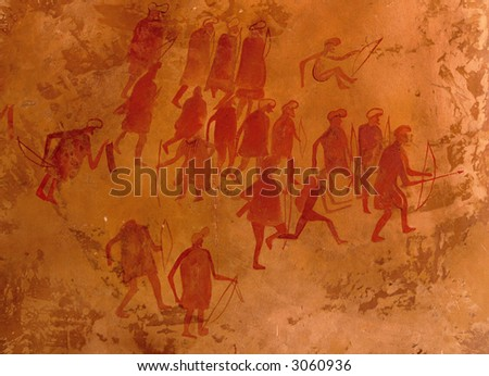 Ancient petroglyphs, Libya - stock photo