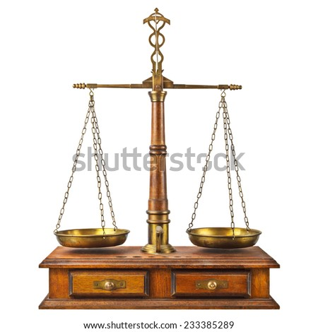 Ancient pharmacy balance with wooden base isolated on a white background - stock photo