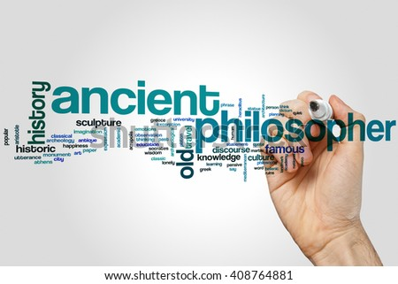 Ancient philosopher word cloud concept with greek history related tags - stock photo