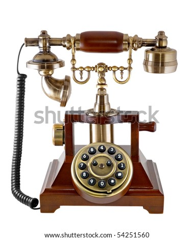 Ancient phone is photographed on the white background - stock photo