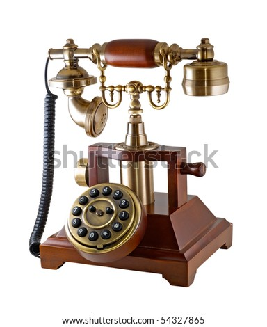Ancient phone is photographed on the white background