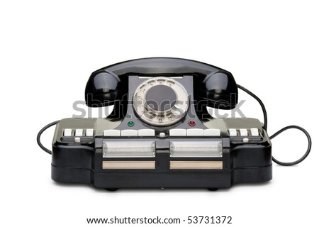 Ancient phone. Multipurpose phone of manufacture of the USSR. It was used in 1950 - stock photo