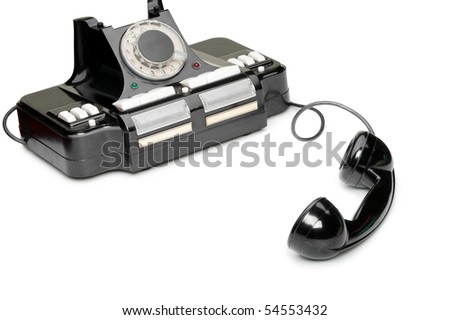 Ancient phone, off the hook. Multipurpose phone of manufacture of the USSR. It was used in 1950 - stock photo