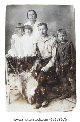 Ancient photo of family parents and kids, circa 1930 - stock photo