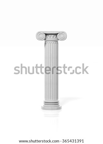 Ancient pillar, isolated on white background.