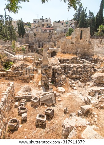 Ancient Pool of Bethesda ruins. Old City of Jerusalem, Israel. - stock photo