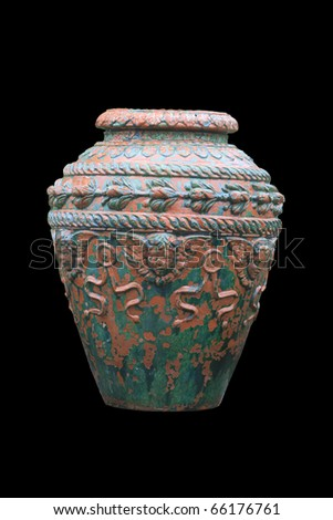 ancient pot isolated on black - stock photo