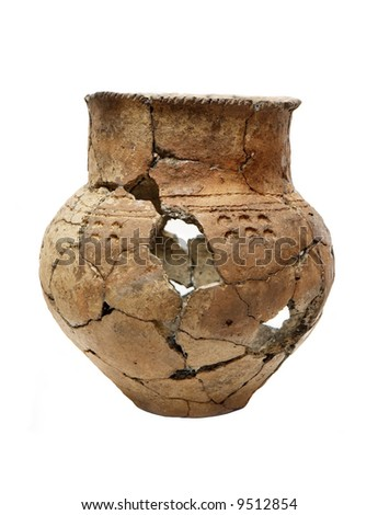 Ancient prehistoric pot isolated over white - stock photo
