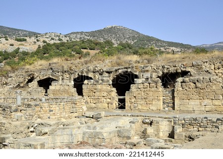 Ancient remains of Agrippa palace in Banias National park, Israel. - stock photo