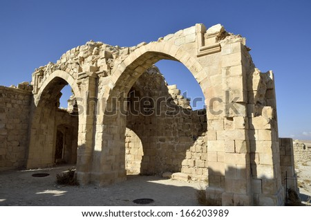 Ancient remains of Shobak castle, Jordan. - stock photo