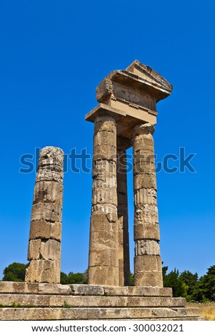 Ancient remains of the Apollo temple at Rhodes acropolis in Greece. - stock photo