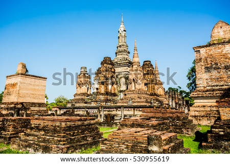 ancient remains of world heritage sukhothai historical park Thai