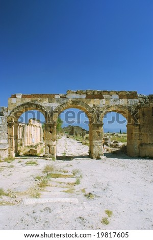 Ancient road and arch Pamukkale, Turkey, Pamukkale, Hierapolis Turkey.