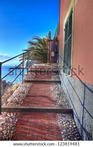 ancient road Bogliasco, Genova, Italy (hdr image) - stock photo