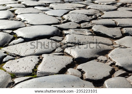 Ancient road in Roman Forum in Rome, Italy. Background.