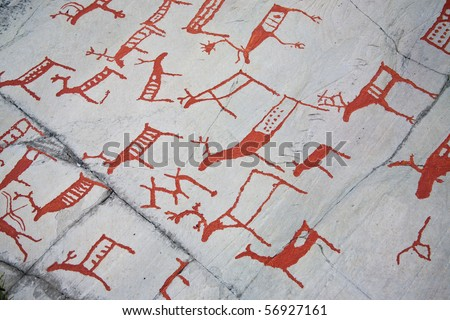 ancient rock carvings (petroglyphs) in Alta, Norway - stock photo