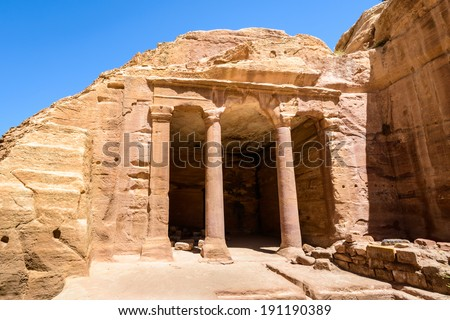 Ancient rock cut architecture of Petra, Jordan. Petra is one the New Seven Wonders of the World - stock photo
