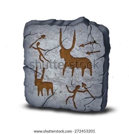 Ancient rock painting plate of stone age illustration icon isolated on white background - stock photo