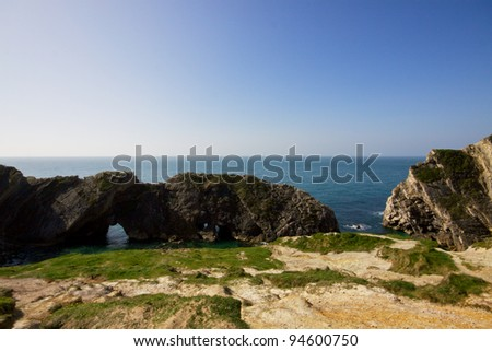 Ancient rocks of southern coast in England, called Jurassic coast