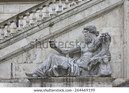 Ancient Roman allegory of Nile River by Matteo di Castello on Capitol Hill in Rome, Italy - stock photo