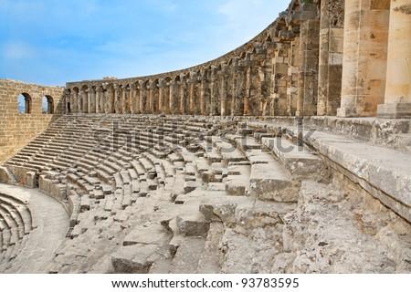 Ancient roman amphitheater Aspendos in Antalya, Turkey. - stock photo